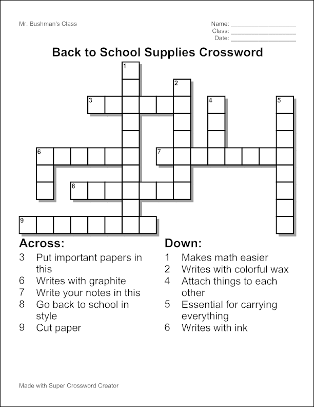 create a free crossword puzzle to print